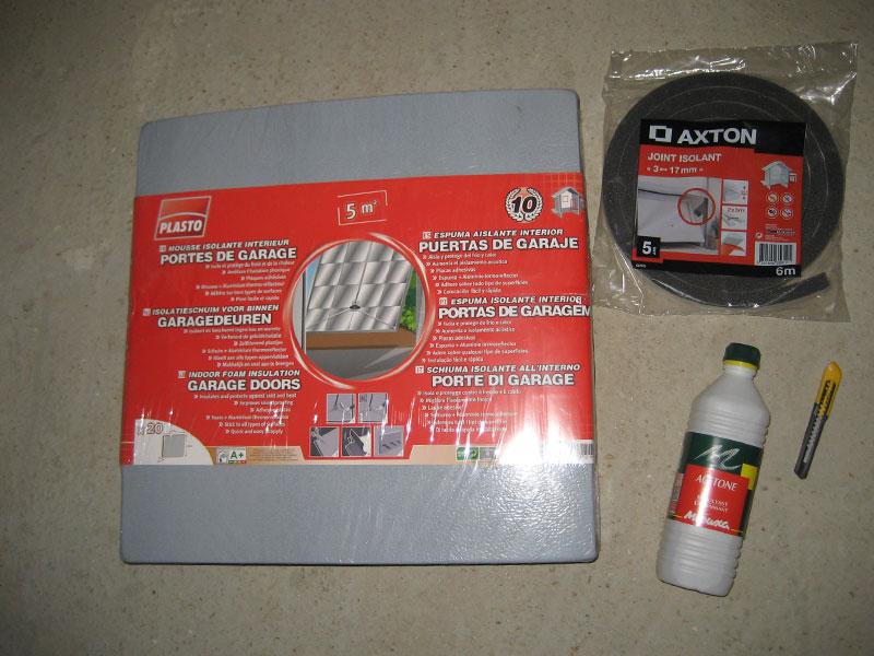 Voici le matériel que nous allons utiliser pour isoler notre porte de garage.