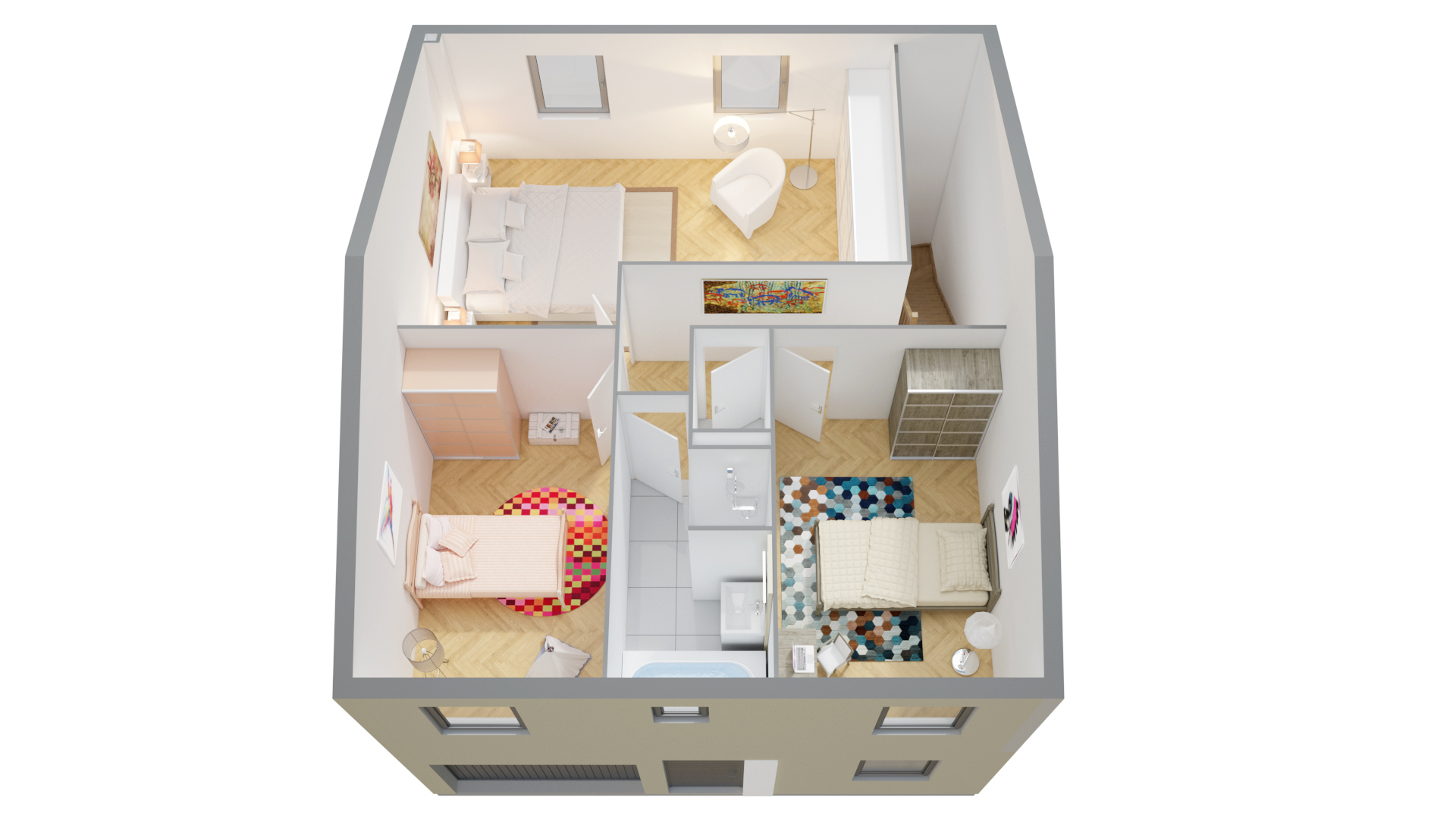 Plan de maison un etage avec garage ventana blog - Plan maison 3 chambres etage ...