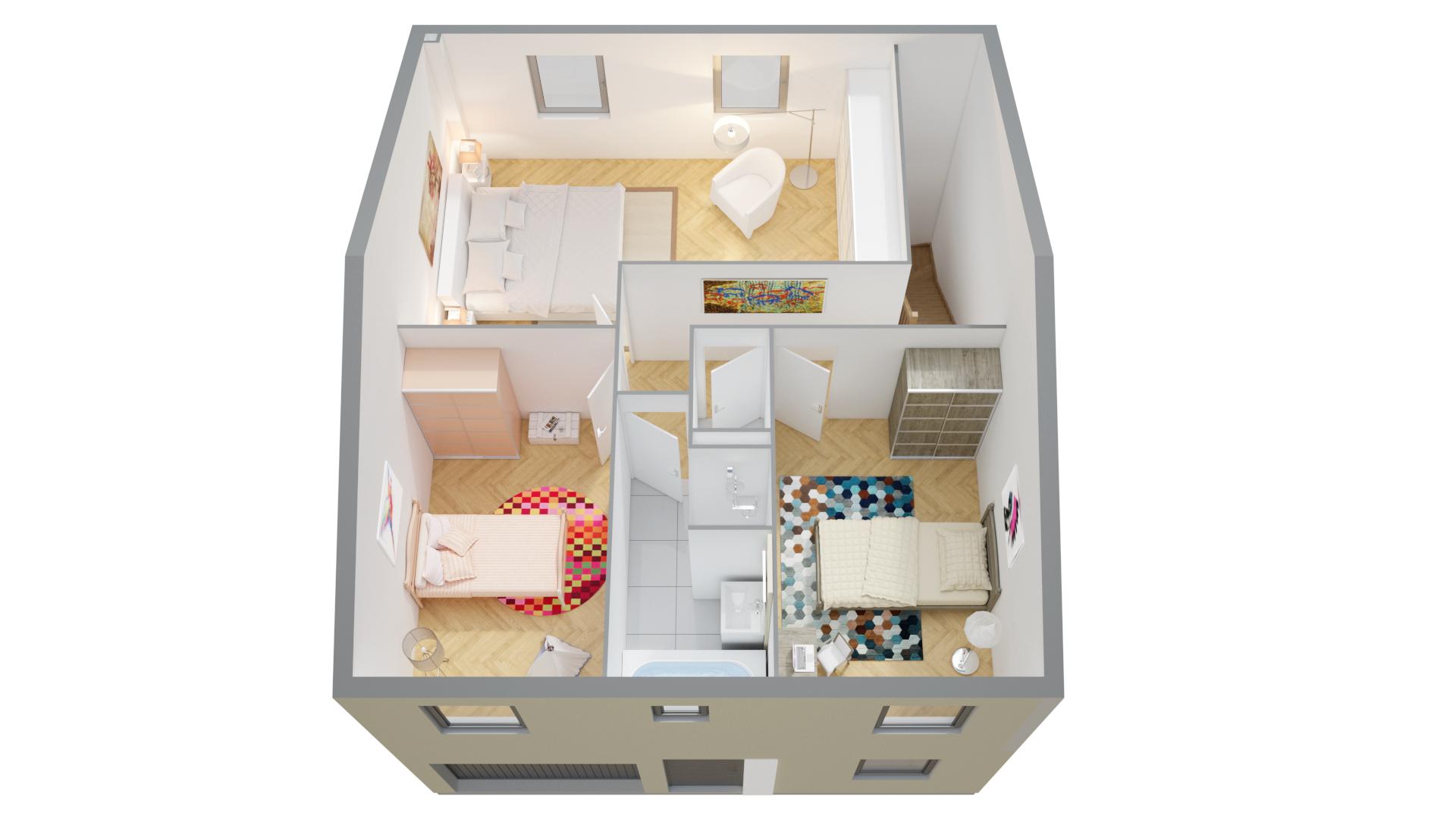 Plan de maison un etage avec garage ventana blog - Plan etage 3 chambres ...