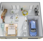 Plan Maison Phénix avec étage, rez-de-chaussée, combles, garage, 3 chambres (107m2)