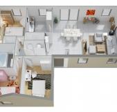 Plan Maison Phénix plain-pied avec 3 chambres en L (97M2)