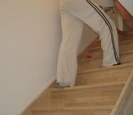 Début du ponçage de notre escalier