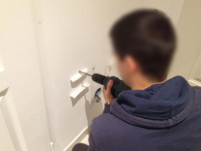 Perçage des trous de fixation de notre futur radiateur.