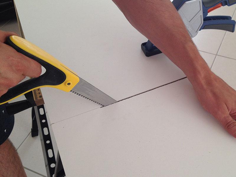 découpe des planches du meubles à chaussures