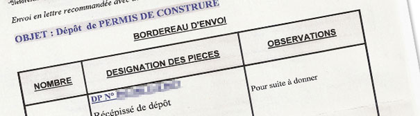 Récipicé permis construction