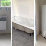 Photos : les radiateurs, le ballon d'eau chaude, la baignoire et la douche